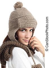 donna, caldamente, inverno, coperto, facciale, ritratto