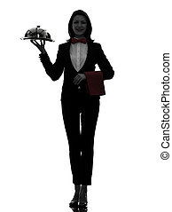 donna, cameriere, maggiordomo, servire, cena, silhouette