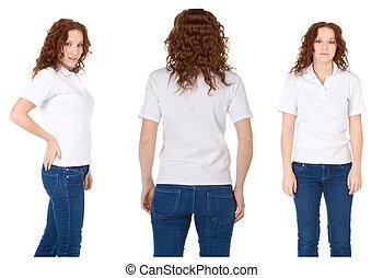 donna, camicia, angl, jeans, giovane, rosso, polo, bianco,...