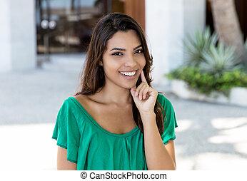 donna, camicia, giovane, americano, latino, verde, attraente, adulto