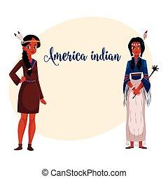 donna, camicia, tribale, tradizionale, indiano americano, ...