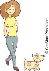 donna camminando, il, cane