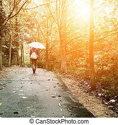 donna camminando, in, il, legnhe