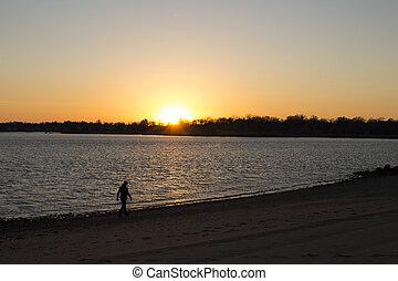 donna camminando, su, spiaggia, a, tramonto
