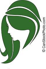 donna, capelli, bellezza, logotipo, ecologico