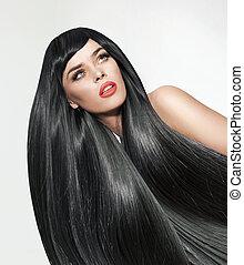 donna, capelli diritti, long., ritratto, cespuglioso