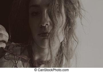 donna, capelli, giovane, riccio, lungo, bello