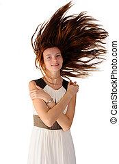 donna, capelli volatori, dress., bianco, gioioso, felice
