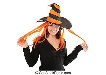 donna, cappello, giovane