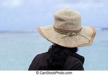 donna, cappello, spiaggia