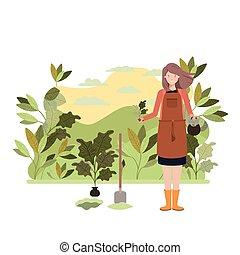 donna, carattere, giardiniere panorama, avatar