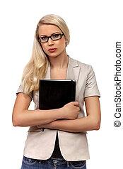 donna, carino, affari, /, studente, contro