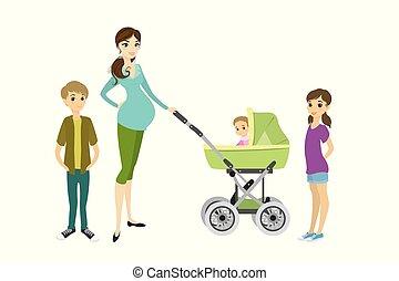 donna, carino, giovane, carrozzina, bambini, incinta