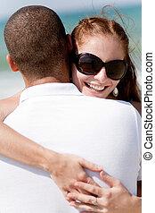 donna, carino, presa a terra, spiaggia, marito, ritratto, lei, mentre
