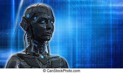 donna, carta da parati, -, robot, interpretazione, fondo, tecnologia, 3d