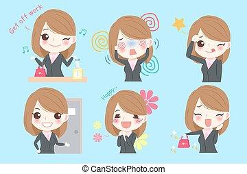 donna, cartone animato, affari