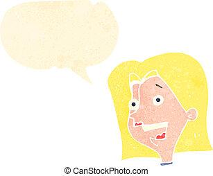 donna, cartone animato, felice, retro