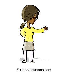 donna, cartone animato, gesturing