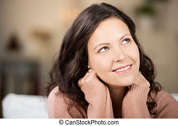 donna, casa, giovane, su, dall'aspetto, pensieroso