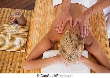 donna, centro, indietro, terme, ricevimento, massaggio