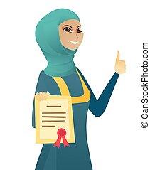 donna, certificato., affari, musulmano, giovane, presa a terra