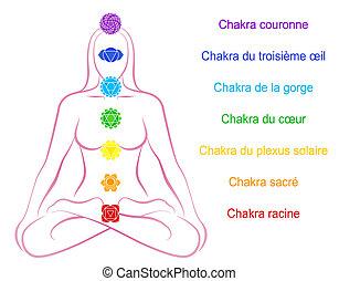 donna, chakras, descrizione, francese