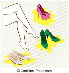 donna, chooses, scarpe