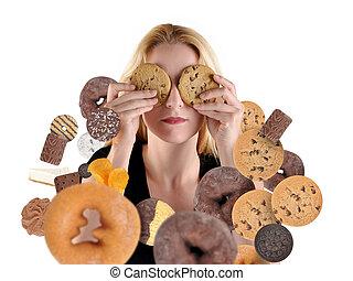 donna, cibo, dieta, spuntino, bianco, bastonatura