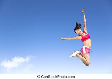 donna, cielo, giovane, saltare, felice