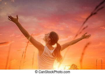 donna, cielo, libero, tramonto, contro, felice