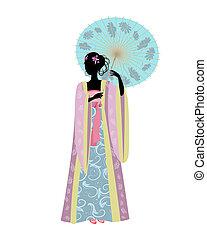 donna cinese, con, un, ombrello, in, costume tradizionale