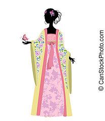 donna cinese, con, uno, farfalla, in, costume tradizionale