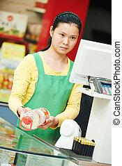 donna cinese, negozio, lavoratore