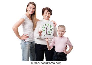 donna, circa, tre, cura, generazione, natura