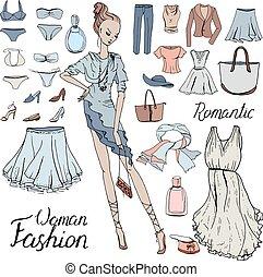donna, clothes., clutch., dress., moda, sera, leva piedi, modello, set, stile, romantico, frase, porta, calligrafia