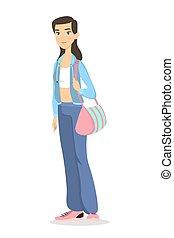 donna, clothes., sport