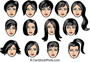 donna, collezione, capelli