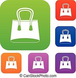donna, colorare, sacchetto raccolta, set, piccolo