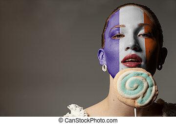 donna, colorito, bellezza, dipinto, bandiera francia, presa a terra, ritratto, lecca lecca