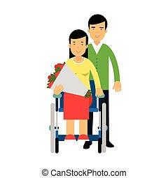 donna, colorito, lei, mazzolino, amore, coppia, illustrazione, invalido, vettore, mani, fiori, carrozzella, felice