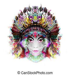 donna, colorito, mistico, astratto, illustrazione, faccia