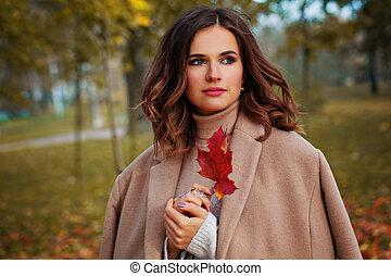 donna, colorito, natura, autunno, fondo, fuori, felice