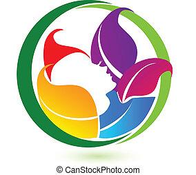 donna, colorito, vettore, mette foglie, rilassamento, logotipo, icona