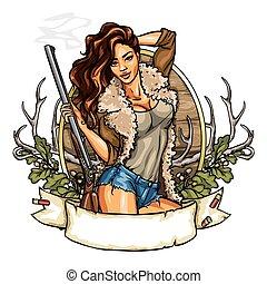 donna, colpo, presa a terra, caccia, fucile, etichetta, carino
