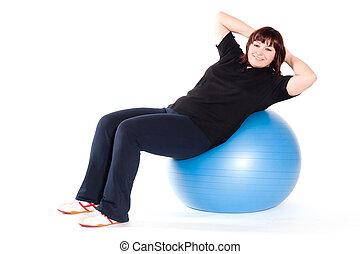 donna, colpo, sovrappeso, giovane, contro, fondo., palla, idoneità, bianco, esercizio