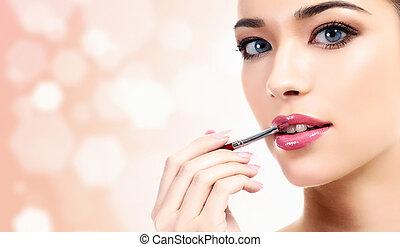 donna, composizione applica, cosmetico, labbra, spazzola