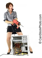 donna, computer, vendetta