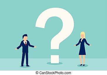 donna, comunicazione, vettore, domande, agitato, detenere, uomo