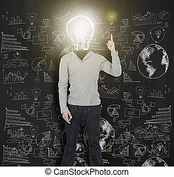 donna, con, acceso, lampadina, per, lui