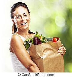 donna, con, acquisto
